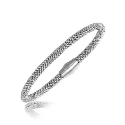 Sterling Silver Rhodium Plated Popcorn Motif Bangle, size 7.5''