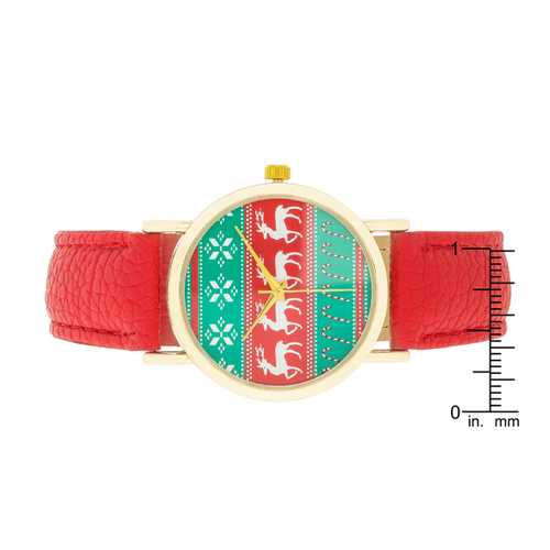 Gold Holiday Watch With Red Leather Strap