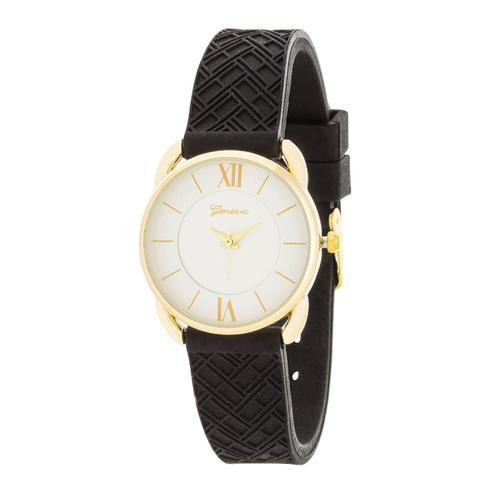Mina Gold Classic Watch With Black Rubber Strap