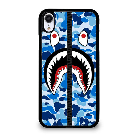 BAPE SHARK CAMO BLUE ZIP-iphone-xr-case-cover