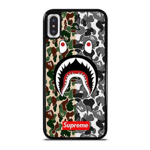 BAPE SHARK SUPREME CAMO 2,-iphone-x-case-cover