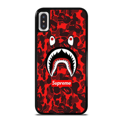 BAPE SHARK SUPREME CAMO RED-iphone-x-case-cover