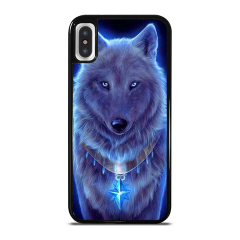 BLUE EYE GRAY FANTASY WOLF-iphone-x-case-cover