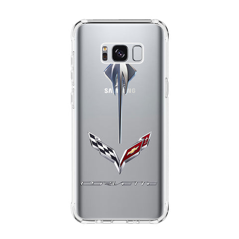 CORVETTE STINGRAY C7 LOGO Samsung Galaxy S5 S6 Edge S7 S8 S9 S10 Plus S10e Transparent Clear Case Cover