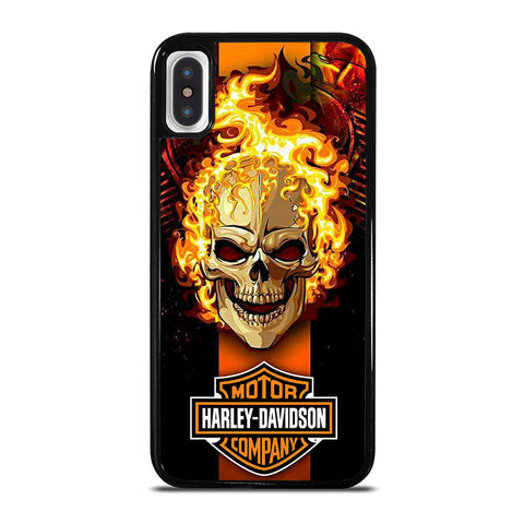 HARLEY DAVIDSON SKULL FIRE iPhone X / XS Case - Best Custom Phone Cover Cool Personalized Design