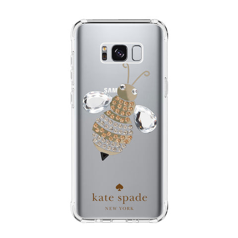 KATE SPADE DIAMOND BEE Samsung Galaxy S5 S6 Edge S7 S8 S9 S10 Plus S10e Transparent Clear Case Cover