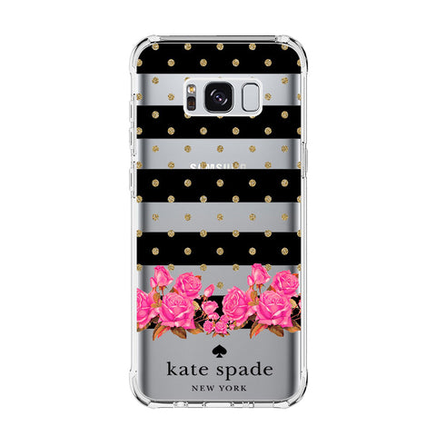 KATE SPADE FLOWER POLKADOT Samsung Galaxy S5 S6 Edge S7 S8 S9 S10 Plus S10e Transparent Clear Case Cover
