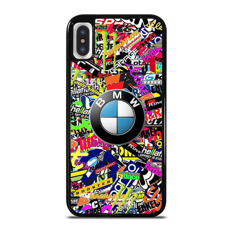 STICKER BOMB BMW LOGO-iphone-x-case-cover