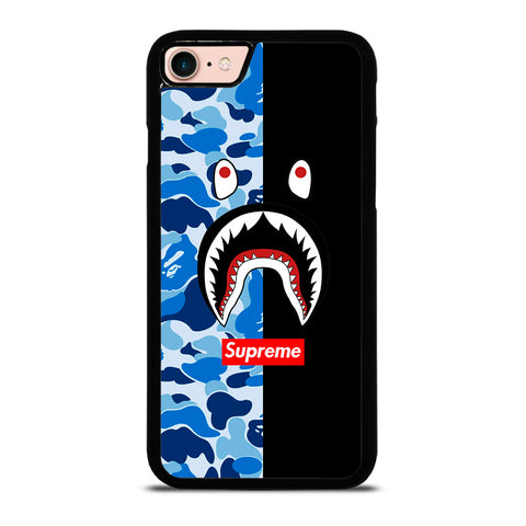 SUPREME BAPE SHARK CAMO BLUE BLACK-iphone-8-case-cover