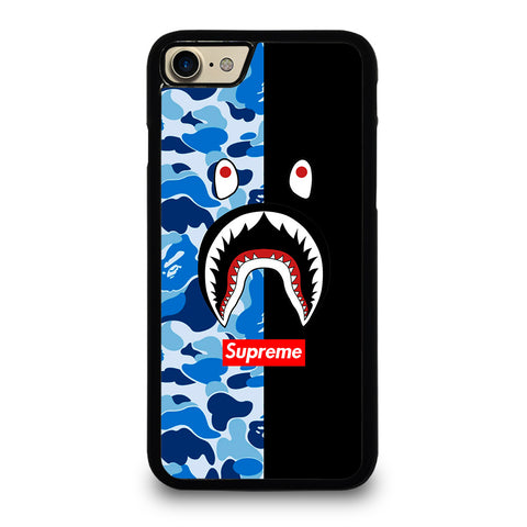 SUPREME BAPE SHARK CAMO BLUE BLACK-iphone-7-case-cover