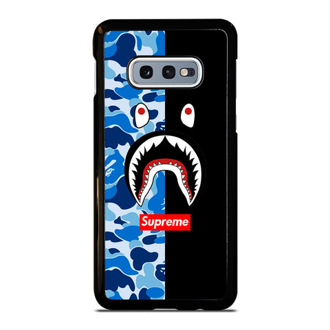 SUPREME BAPE SHARK CAMO BLUE BLACK-samsung-galaxy-S10e-case-cover
