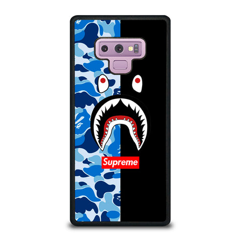 SUPREME BAPE SHARK CAMO BLUE BLACK-samsung-galaxy-note-9-case-cover