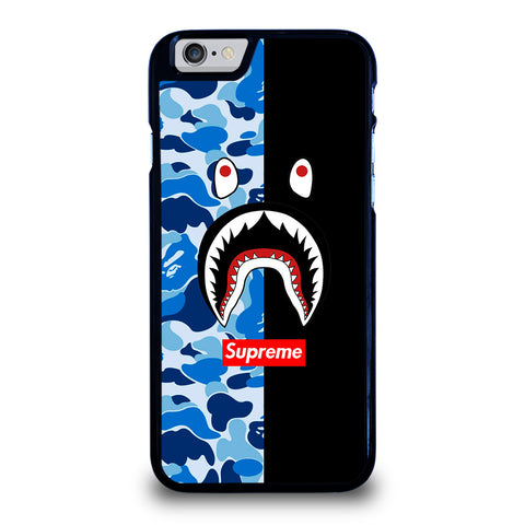SUPREME BAPE SHARK CAMO BLUE BLACK-iphone-6-6s-case-cover