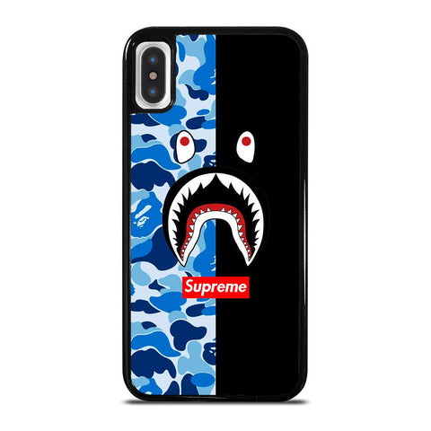 SUPREME BAPE SHARK CAMO BLUE BLACK-iphone-x-case-cover