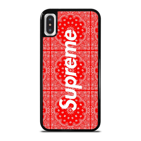 SUPREME RED BANDANA-iphone-x-case-cover