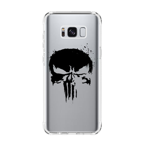 THE PUNISHER SKULL LOGO Samsung Galaxy S5 S6 Edge S7 S8 S9 S10 Plus S10e Transparent Clear Case Cover
