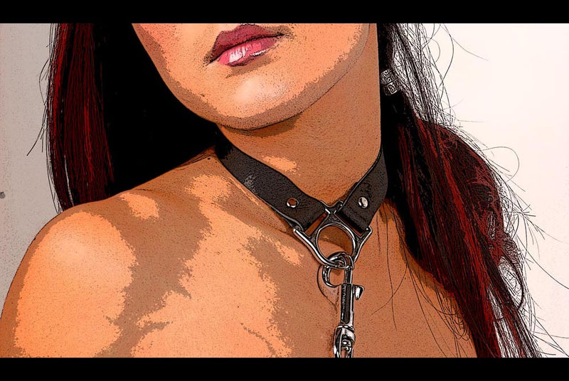 Leather Ava collar in action