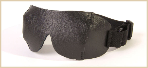 Cool black leather blindfold, good for contact lenses, stays off the eyes for a comfortable fit
