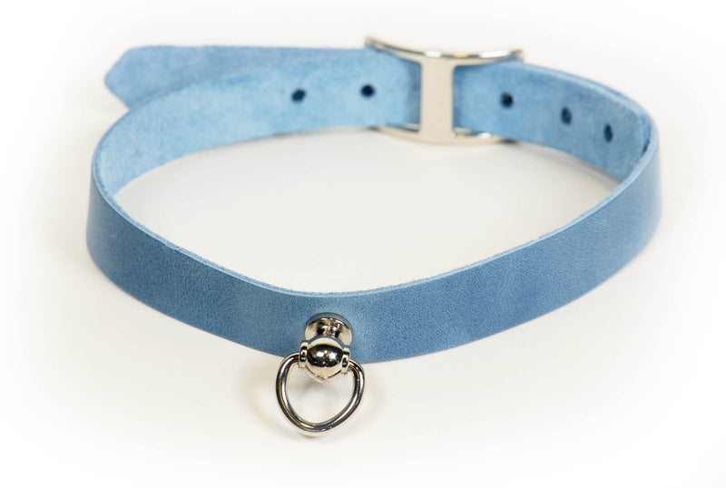 Slim blue jean-look leather sub collar with Dee ring