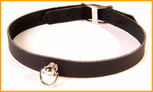 Slim black leather sub collar with Dee ring