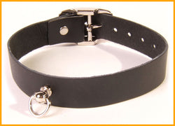 Classic black leather dress collar with Dee ring