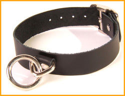 Black leather collar with robust metal O ring
