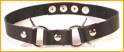 Black leather collar with dual pointed rings
