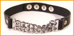Black leather collar with a double row of glittering chain