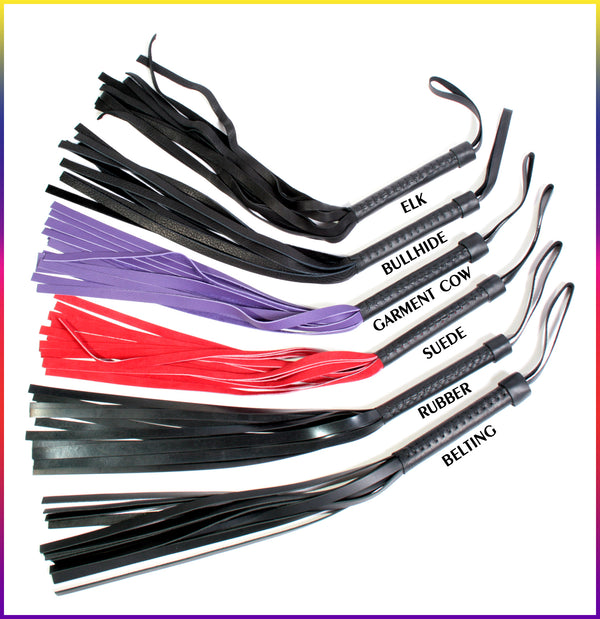Glow floggers, in many different leathers
