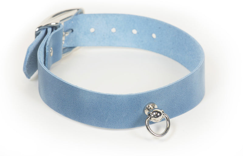 Relaxed blue jean-look distressed leather collar with Dee ring