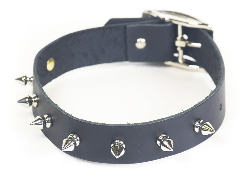 Classic fetish collar in black leather, festooned with a ring of spikes