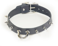 Black leather, spikes, and a chunky Dee ring collar make an impressive statement