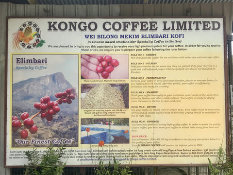 Sorting Sign for Kongo Coffee in PNG
