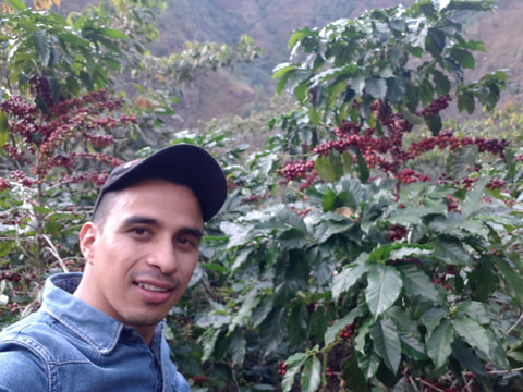 Marlon Del Valle and his coffee cherries