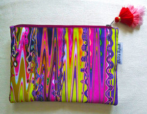 Psychedelic pink cosmetic pouch