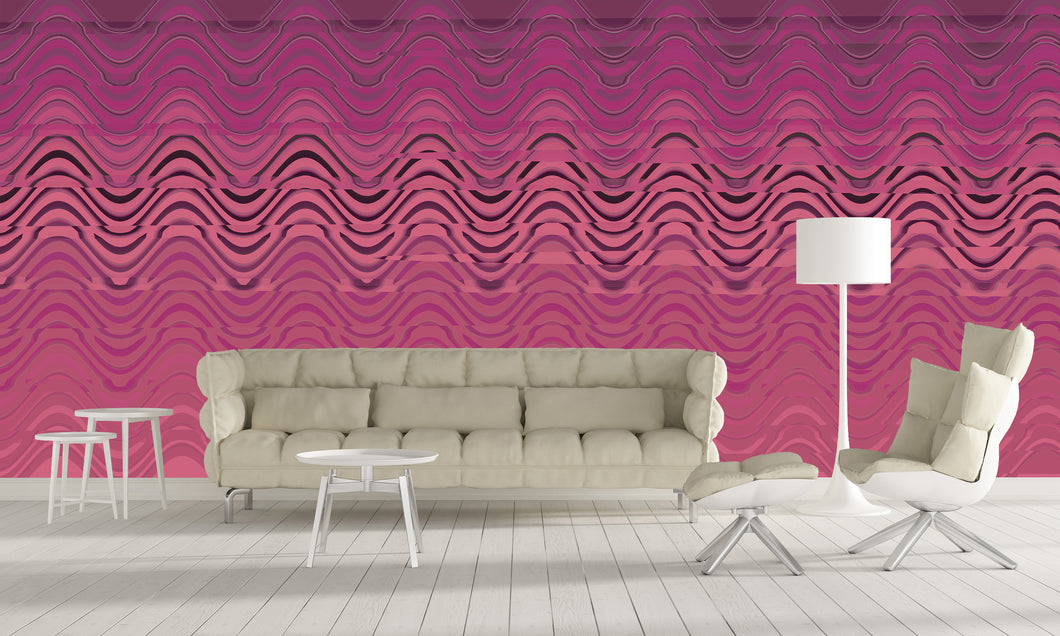 Pink Scaley Waves, Removable Wallpaper