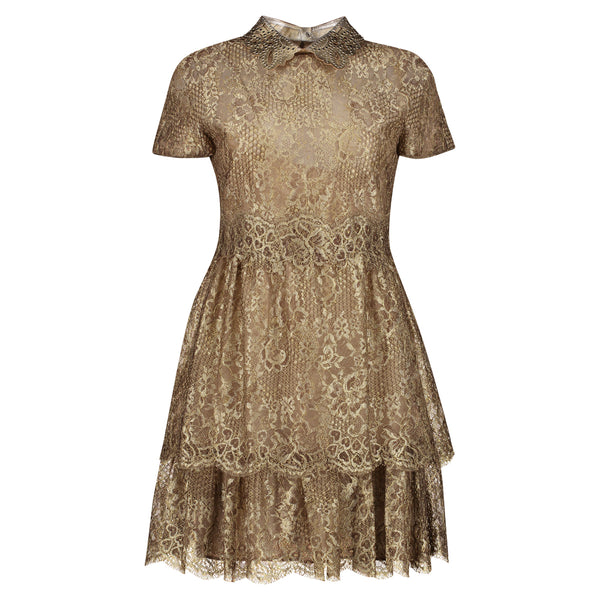 VESTIDO SHORT RISE LACE GOLDEN