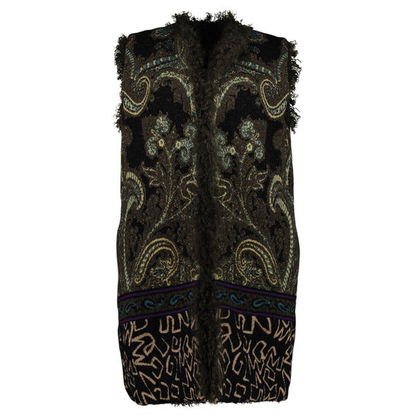 REVERSIBLE ETRO GREEN LONG VEST