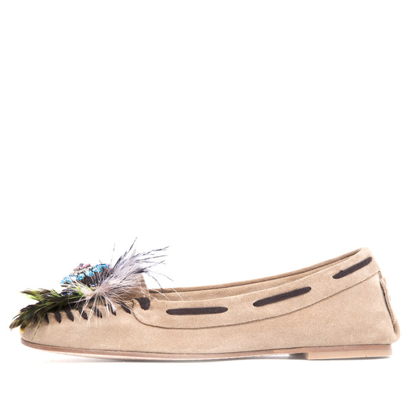 MOCASINES FEATHERS BEIGE