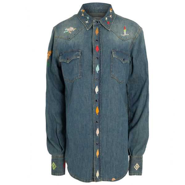 CAMISA DENIM FLOWERS