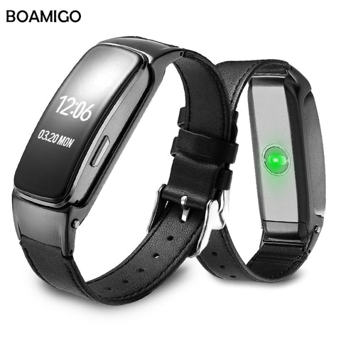 Smart Watch BOAMIGO Brand Bracelet Wristband Leather Strap Watches Message Reminder Pedometer Calorie Bluetooth For IOS Android