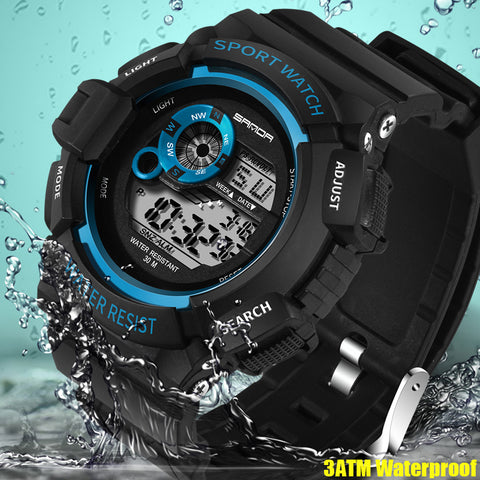 2018 SANDA Outdoor Sports Watches Hiking Men Watch Digital LED Electronic Watch Man Sports Watches Chronograph Men Clock