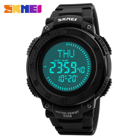 SKMEI Outdoor Sports Compass Watches Hiking Men Watch Digital LED Electronic Watch Man Sports Watches Chronograph Men Clock 2018