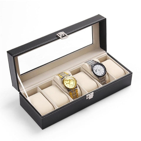 FANALA Watch Box 5 Grids Watch Boxes Case PU Leather Black Watches Organizer Holder Display Storage Luxury Jewelry Gift Box