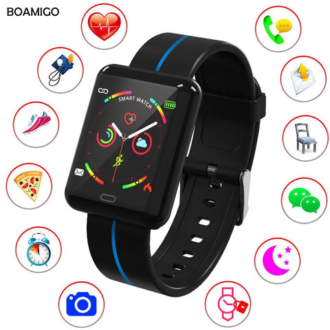 BOAMIGO Fitness Tracker Smart watch men women Continuous Heart rate blood pressure sport wrist band bracelet  for Android IOS