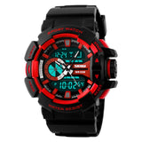 SKMEI Hiking Sports Electronic Watch Schoolboy PU Leather 50M Waterproof Quartz Watches Digital Dual Time Display Wristwatch