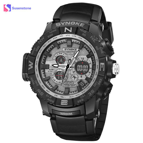 2018 Fashion Men's Sports Wristwatches Multi-Function 50M Waterproof Watch LED Digital Double Action Watch Quartz Wristwatches