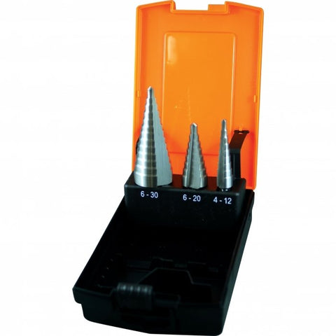 D1071 - HSS Sheet Metal Step Drill Set - 3 Piece Ø4 - Ø30mm