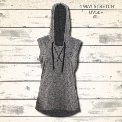 Primal Womens Hooded Singlet - Granite
