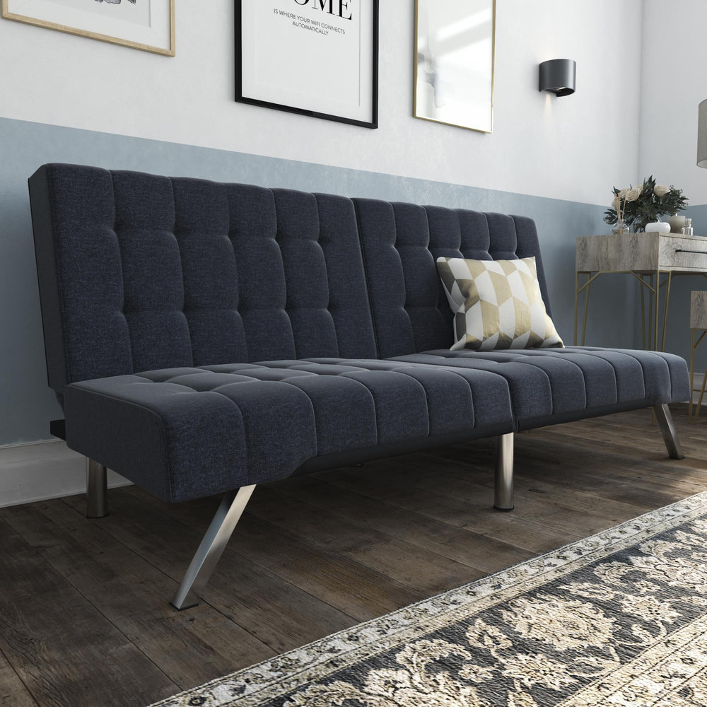 Clearance FURNITURE IN HOUSTON Blue Linen Tufted Sofa Bed Futon